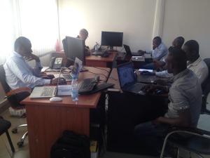 Equipe ProjetEOF en préparation dans les locaux de OCHA