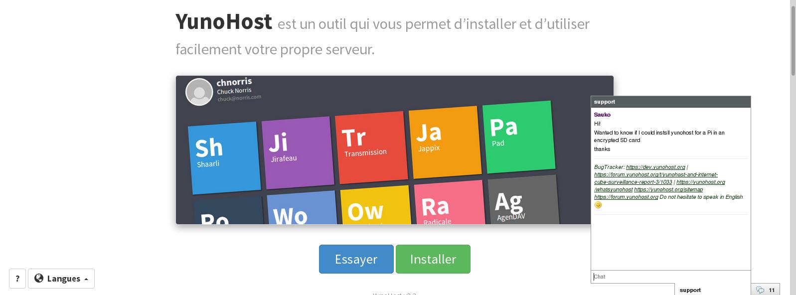 Copie d'écran du site internet Yunohost, vous pouvez tester le service en ligne